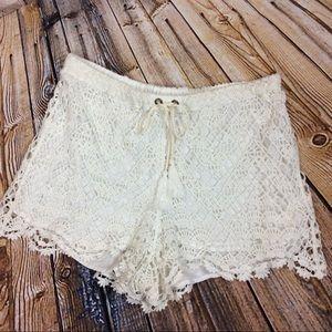 Anthropologie Mermaid Crochet Drawstring Shorts M